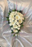 ARTIFICIAL FLOWERS IVORY FOAM ROSE GERBERA CRYSTAL WEDDING SHOWER BOUQUET